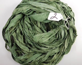 Silk Sari Ribbon, Sari silk ribbon, recycled ribbon, green sari ribbon, silk ribbon, rug supply, knitting supply, rag ribbon, crochet supply