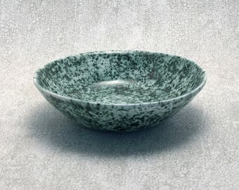 Handmade Ceramic Bowl | Oriental Looking Bowl | Speckled Green & White Bowl | Wheel Thrown Pottery