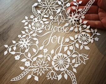 Choose Joy Papercut Template - Personal use