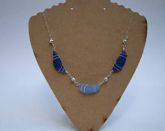 Cobalt and Cornflower Blue Sea Glass Necklace - Sterling Silver Wire Wrapped