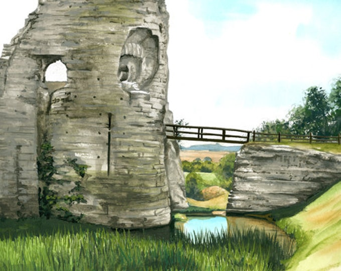 Featured listing image: Pevensey Castle, mounted print signed