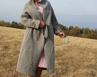 New Winter Wool Coat,Grey Coat/Maxi Coat/Woolen Coat/Extravagant Coat/Casual Maxi Coat,Grey Jacket