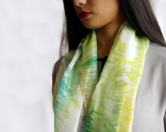 delicate light and soft silk scarf, hand dyed/arashi shibori/green/100%silk/55x18 in/gift for her/gift anniversary