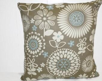 Waverly Floral Gemma Latte Fabric Home Decor 16x16 Pillow Cover