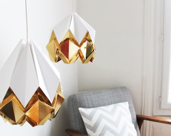 Elegant origami lamp | snow white with deep gold pendent light | Contemporary design to your home perfect for your living room or bedroom