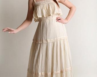 Vintage 1970s Gauze Maxi Dress - Ivory White Dreamy Wedding Spring Dress - Medium Large