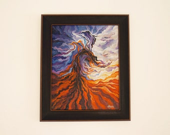 """Oil painting """"Dragon Head in Eagle Nebula"""", framed, ready to hang"""