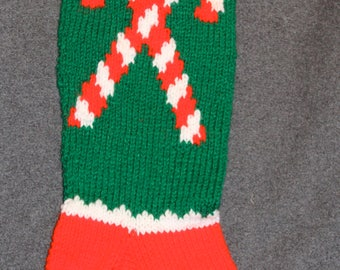 Candy Cane Personalized Knit Christmas Stocking