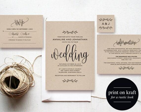 Cheap Rustic Wedding Invitations: Kraft Wedding Invitation Printable Rustic Invitation Set