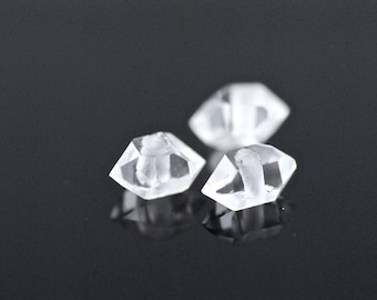 Herkimer Diamond Beads - Lot of 3 Herkimer Diamond Crystal Bead -  Hand Drilled Herkimer Diamond Beads -  Herkimer Diamond Bead