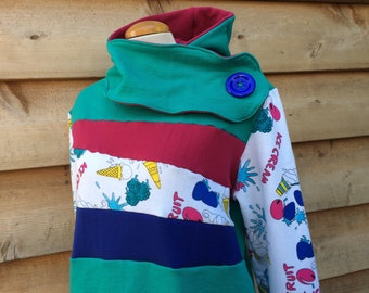 SUMMER TREAT Hoodie Sweatshirt Sweater Handmade Recycled Upcycled One of a Kind Ladies Extra Large - with Pockets Pullover Teal Pink