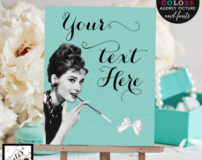 Audrey Hepburn custom quotes signs, printable poster quote sign, breakfast at, and co quotes, bride and co, Digital File Only! 8x10""