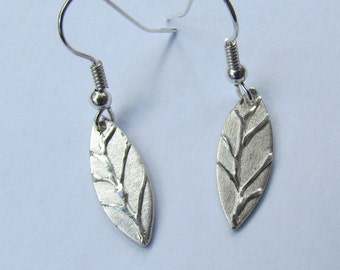Silver leaf earrings with vein detail