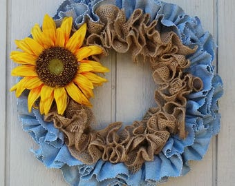 Recycled Upcycled Denim Jeans Wreath With Burlap Any Season You pick the Flower and Color Sample Yellow Sunflower 11 15 or 19 inch