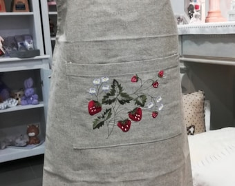 Beautiful kitchen apron, country style decor strawberries