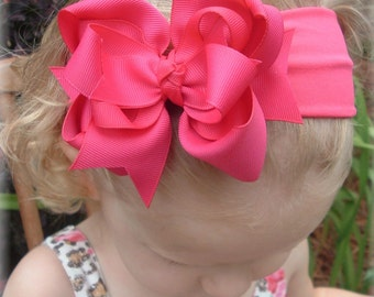 shocking pink baby headband, infant headbands, hair bows for girls, unique baby headbands, Easter bow, pageant hair bow, hairbows for babies