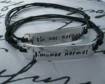I'm Not Normal, Set Of 2 Adjustable Bracelets, Anniversary Gifts For Men, Girlfriend Gift, Graduation Gift, Gift For Boyfriend, Gift For Men