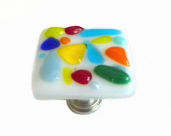 Colorful Art Glass Cabinet Knobs Hardware by Uneek Glass Fusions k2381