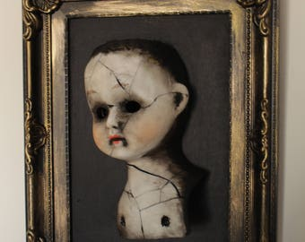 Victorian Old Doll Wall Art one off