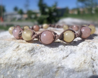 "Bracelet ""joie de vivre"" Sunstone and yellow calcite"