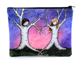 Tangled - Zipper Pouch - Lovely Tree Couple Making Heart with Branches - Art by Marcia Furman
