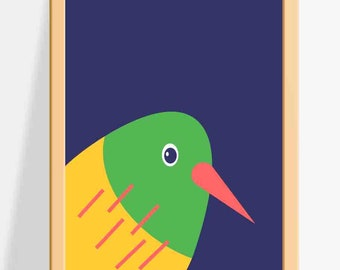 Printable Nursery wall decor for Kids / Bird Prints / A fun and colourful Wall Art for Children