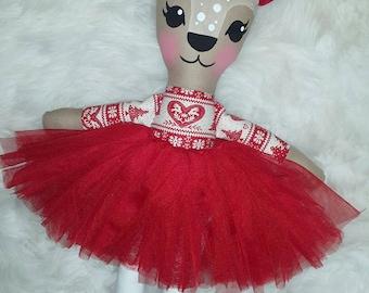 Tinsel the Christmas reindeer doll - handmade softie