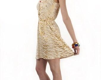 Gold jersey dress Animal print dress Gold cream dress Jersey summer dress
