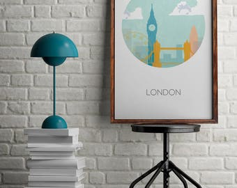 London print for home decor, London skyline art for wall decor, London illustration