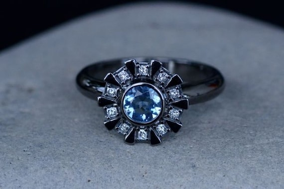 Arc Reactor Inspired Engagement Ring 14K White Gold Black or