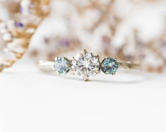 Moissanite and  Kornerupine 14k three stone engagement ring,  Kornerupine engagement ring, moissanite three stone twig ring, 14k twig ring