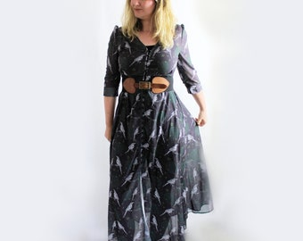 Boho maxidress sheer magpie overdress long alternative sheer buttoned dress with nordic magpie pattern pagan clothing birds pattern