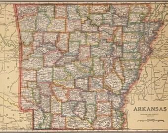 Vintage map of Akansas for  Nikki