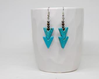 Chevron Turquoise Earrings