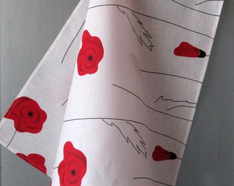 Linen Cotton Dish Towels Tea Towels Red Poppies Red Black White Tea Towels set of 2