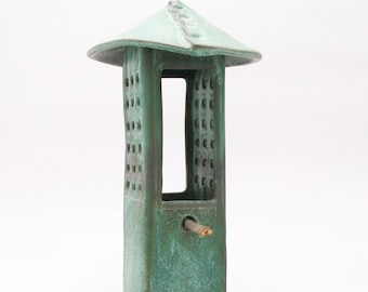 Porcelain Bird Feeder in Weathered Bronze Glaze