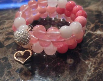 Multi-Pink Charm Wrap Bracelet