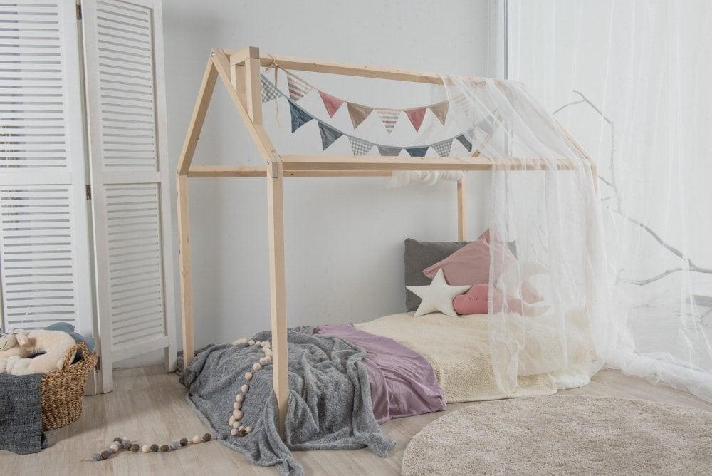 Marco de cama de madera eco niños cama cama de Montessori