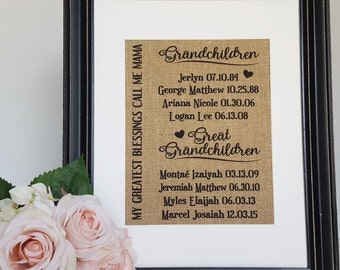 Great Grandma Gift - Great Grandmother Gift - Grandma Gift - Gift From Grandkids - Grandchildren Names - Grandchildren Sign - Grammy Gift