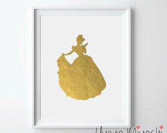 Disney Princess Cinderella I Gold Foil Print, Gold Print, Custom Print in Gold, Gold Art Print, Princess Cinderella Gold Foil Art Print