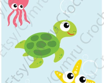 Personalise (with your child's name/text) this Colourful Boys & Girls' T-Shirt Sea Life Turtle, Starfish, Octopus, Crab, Fish - Ages 2-8