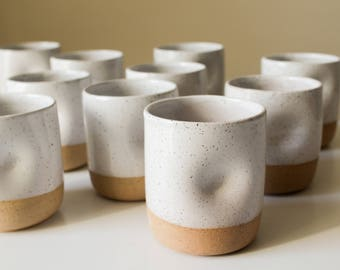Speckled Ceramic Cup with Thumb Hold - Clay/Pottery - Tumbler/Water Glass/Mug - White Glaze - Handmade - Wheel Thrown - Modern