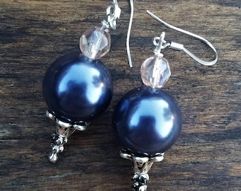 Upcycled purple pearl earrings