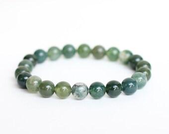 MOSS Agate Bracelet BIRTHING Crystal Bracelet Birthing Bracelet ANXIETY Bracelet Green Grounding Bracelet