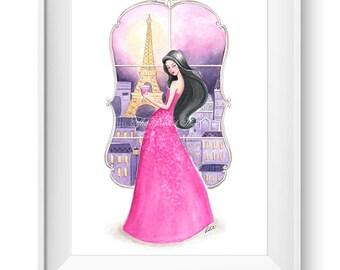 Fashion illustration print, Fashion art, girl art, girls room art, watercolor, vanity art, paris art - Bonjour Paris!