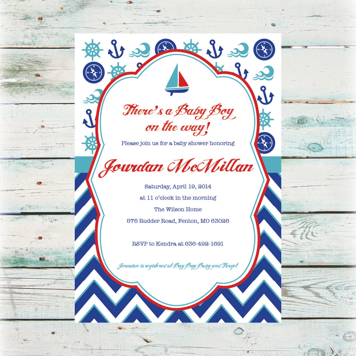 Printable Nautical Baby Shower Invitation Baby Boy Shower