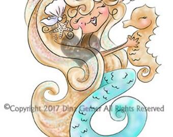 Instant Download Digital Stamp Digi Stamp Misti Mermaid by Dina Gerner