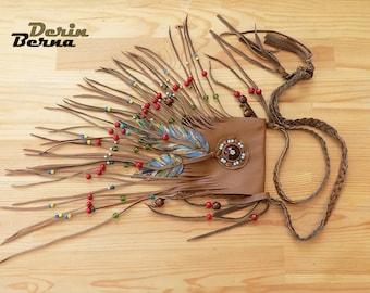 Medicine pouch,Brown leather evil eye medicine bag,Feather leather bag,Leather pouch necklace bag,Fringe spirit totem bag,Fringe leather bag