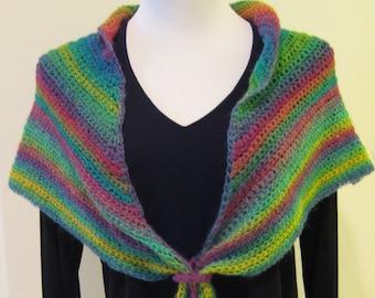 Crochet Shawlette Multicolor Wool