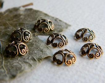 DIY 10 Filigree Bead Caps Bohemian Findings Antique Brass Bead Caps Brass Findings Brass Beadcaps 8mm Made In USA Jewelry Supplies